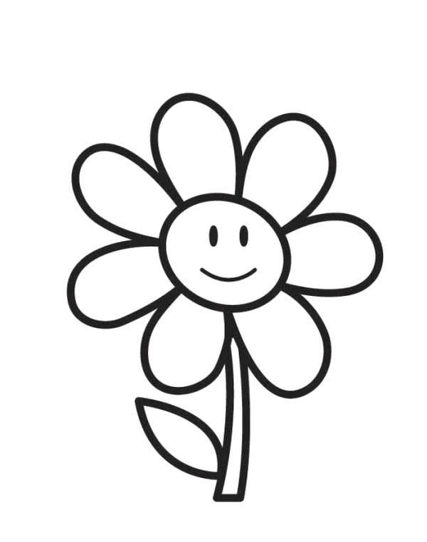 Easy Coloring Page Flower,Easy coloring Images for kids