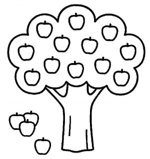 Easy Coloring Pages Apple Tree