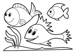 Easy Coloring Pages Fishes,Easy coloring Images for kids