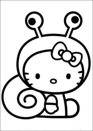 Easy Coloring Pages Hello Kitty Snail Costume,Easy coloring Images for kids