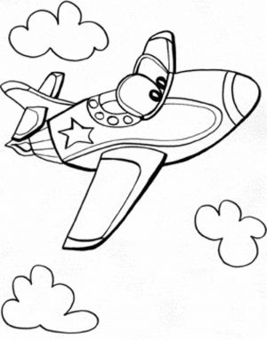 Easy Coloring Pages Airplane