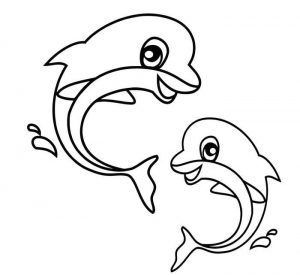 Easy Coloring Pages Dolphin,Easy coloring Images for kids