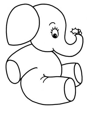 Easy Coloring Pages Elephant,Easy coloring Images for kids