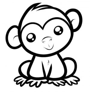 Monkey Easy Coloring Pages,Easy coloring Images for kids